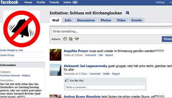 "Facebookgruppe Initiative ""Schluss mit Kirchenglocken""."