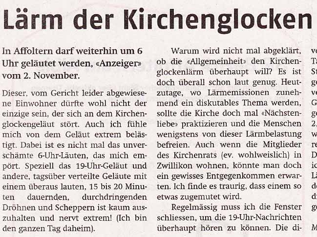 Lärm der Kirchenglocken in Affoltern