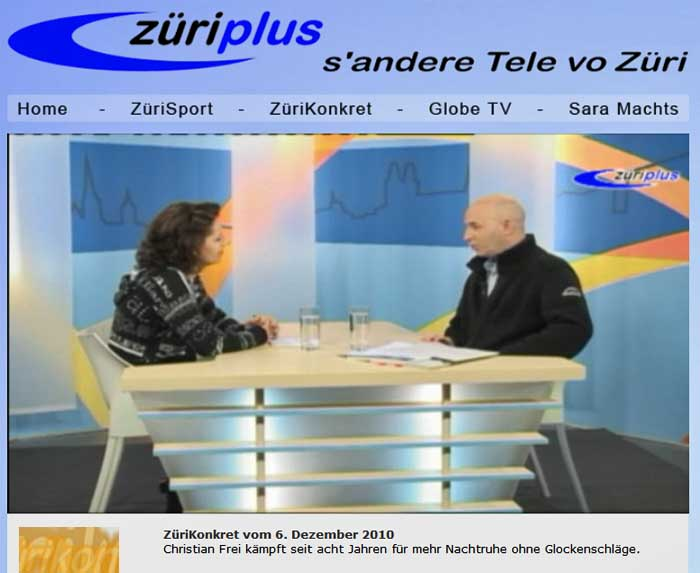 Züri Plus TV: Interview zu Glocken-Lärm in Gossau ZH